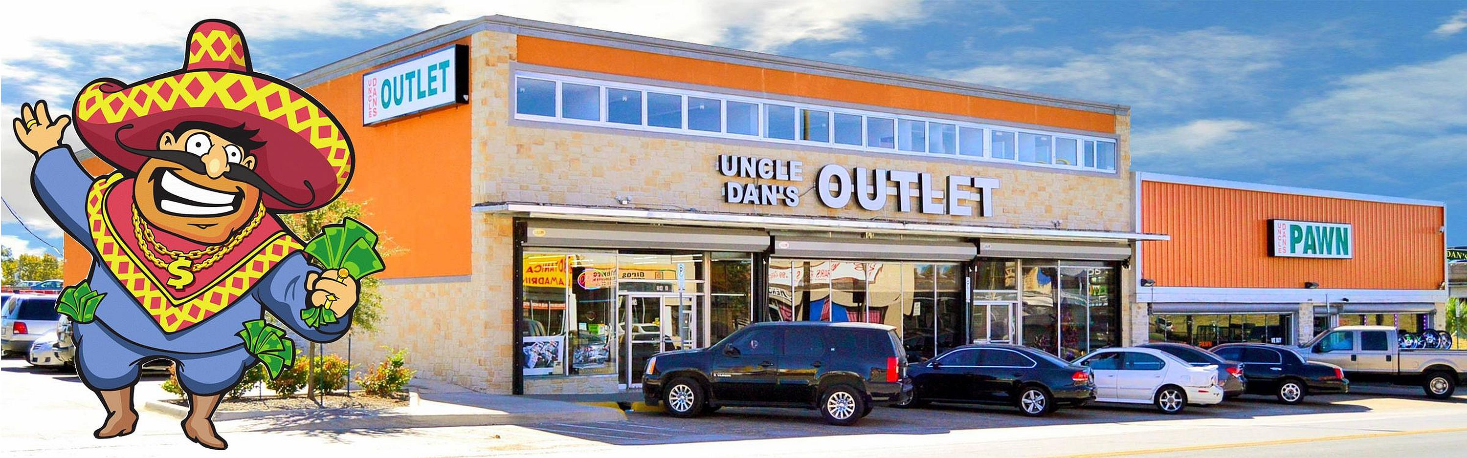 Uncle Dan's Outlet storefront at I-30 & E. Grand Ave., Dallas TX