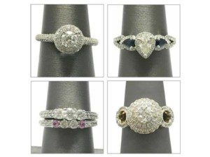 Unique diamond ring mountings with detailed accent bands and halo mountings that feature the center stone of your choice.