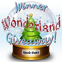 Thumbnail image of snowglobe with Uncle Dan and the words Winner Wonderland Giveaway