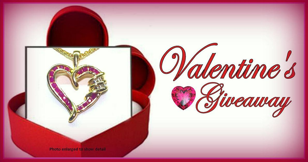 Uncle Dan's Valentin's Giveaway! Win a Ruby & Diamond Heart Pendant Necklace!
