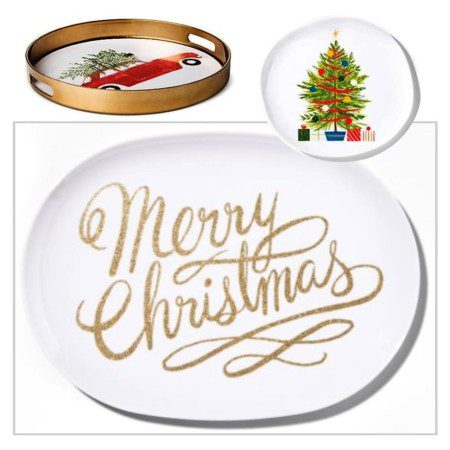 Christmas plates, platters, and trays